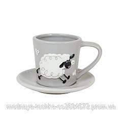Чашка с блюдцем Овечки серая 160 мл