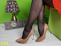 Туфли 36 размер  лодочки коричневые метал. каблук К121, фото 1