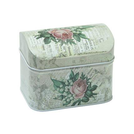 Железная коробка для сыпучих продуктов Шкатулка Роза, 100г ( коробочка для кофе ), фото 2