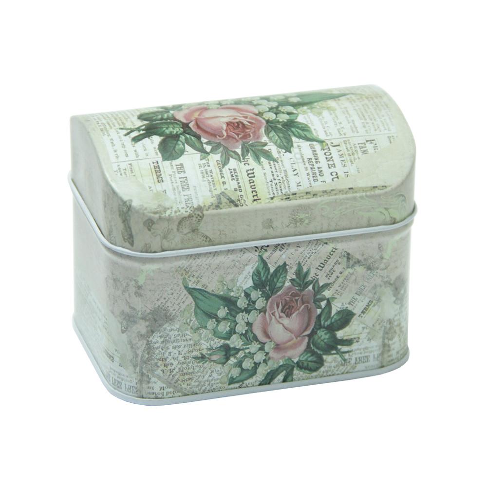Железная коробка для сыпучих продуктов Шкатулка Роза, 100г ( коробочка для кофе )