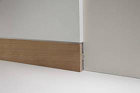 Скрытый плинтус моделирумый в стену Profilpas Metal line 87/6 база+88/16 вставка Вишня