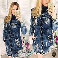 Платье плотный джинс отделка камушки и жемчуг Турция шикарное качество смлхл