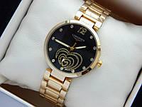 Золотистые часы Longines с сердечками, черный циферблат