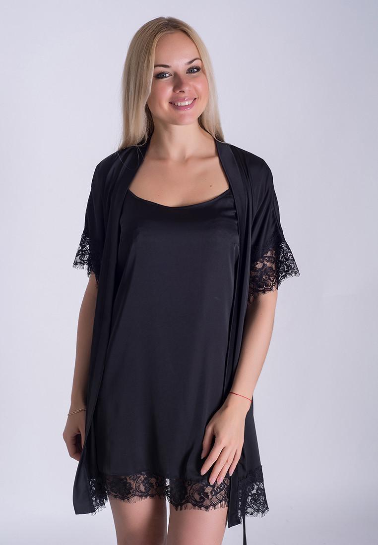 Черный комплект с французским кружевом, пеньюар и халат, К031н