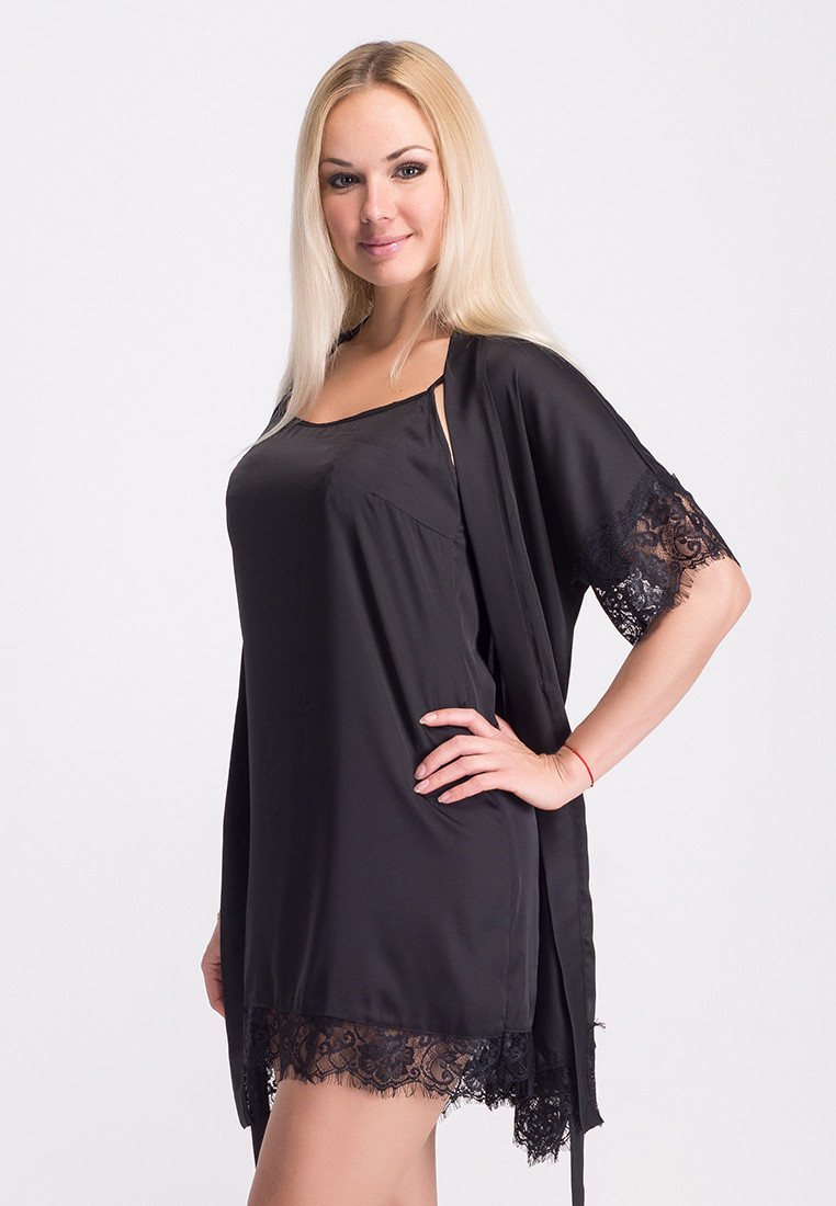 Черный комплект с французским кружевом, пеньюар и халат, К031н XXL