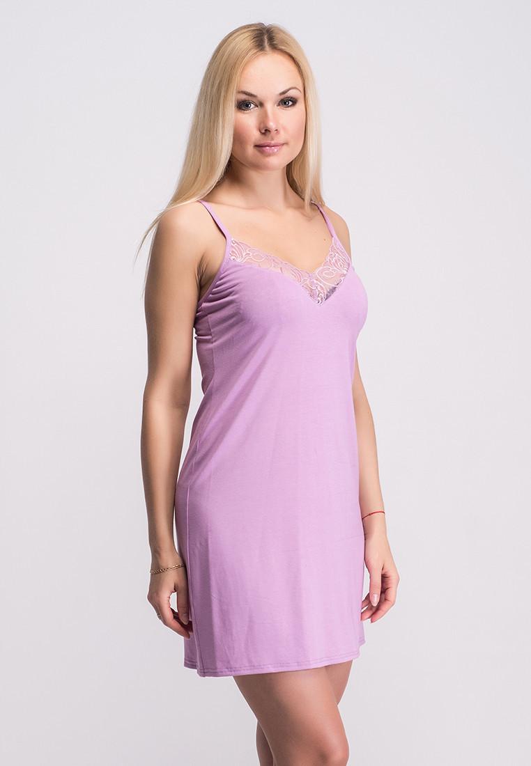 Ночная рубашка с кружевом розовая, Н117х M