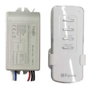 Выключатель дистанционный FERON TM72 2-канала 1000Вт Wireless 30м 220В (вкл.с задержкой)