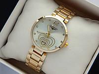Золотистые часы Longines с сердечками, серебристый циферблат