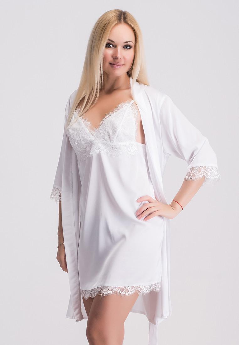 Белый комплект кружевной для сна, хороший вариант для невесты К011н M