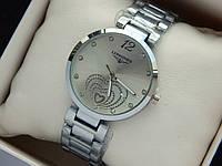 Серебристые женские часы Longines с сердечками, серый циферблат