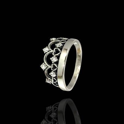 Серебряное кольцо Корона со вставками из фианита, фото 2