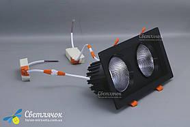 Светильник встраиваемый светодиодный двойной квадратный 36w черный LEDMAX 4000К, фото 2