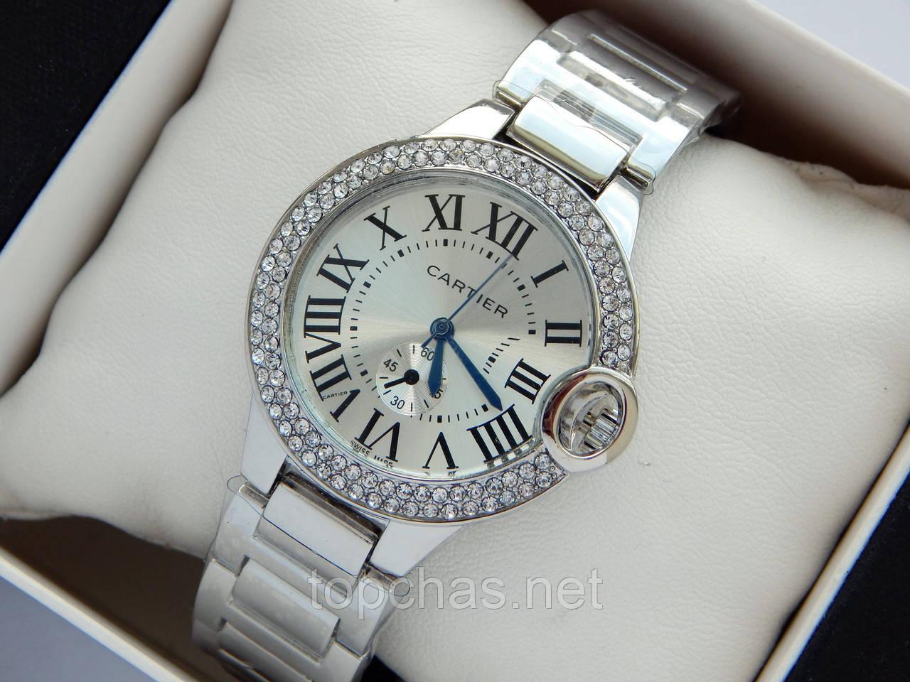 b82ed7f7 Женские часы Cartier серебристого цвета с синими стрелками, римские цифры,  два ряда страз -