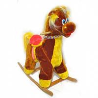Детская плюшевая качалка лошадь
