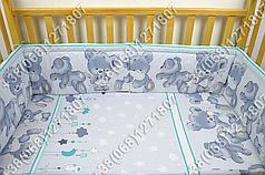 Детское постельное белье и защита (бортик) в детскую кроватку Мишка подушка салатовый