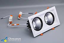 Светильник встраиваемый светодиодный двойной квадратный 36w белый LEDMAX 4000К, фото 2