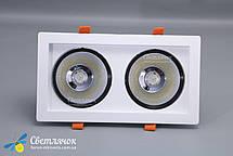 Светильник встраиваемый светодиодный двойной квадратный 36w белый LEDMAX 4000К, фото 3