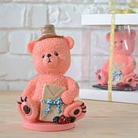 """Шоколадная фигура """"Медведь розовый"""" ЭЛИТНОЕ сырье. Размер: 90х66х146мм, вес 450г, фото 1"""