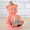"""Шоколадная фигура """"Медведь розовый"""" КЛАССИЧЕСКОЕ сырье. Размер: 90х66х146мм, вес 450г"""