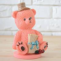 """Шоколадная фигура """"Медведь розовый"""" КЛАССИЧЕСКОЕ сырье. Размер: 90х66х146мм, вес 450г, фото 1"""