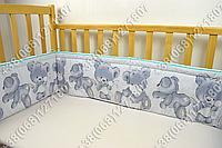 Бортики в детскую кроватку защита бампер Мишка подушка салатовый