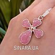Серебряный крестик с розовым улекситом - Крестик с розовым камнем серебро, фото 6