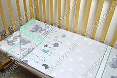 Детское постельное белье в кроватку, постельный комплект Мишка подушка салатовый