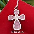 Серебряный крестик с розовым улекситом - Крестик с розовым камнем серебро, фото 4