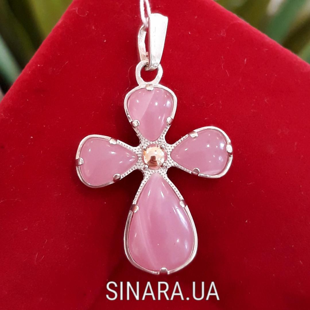 Серебряный крестик с розовым улекситом - Крестик с розовым камнем серебро