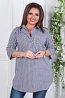 Рубашка женская. 52,54, 56рр поликотон. Клетка, фото 1