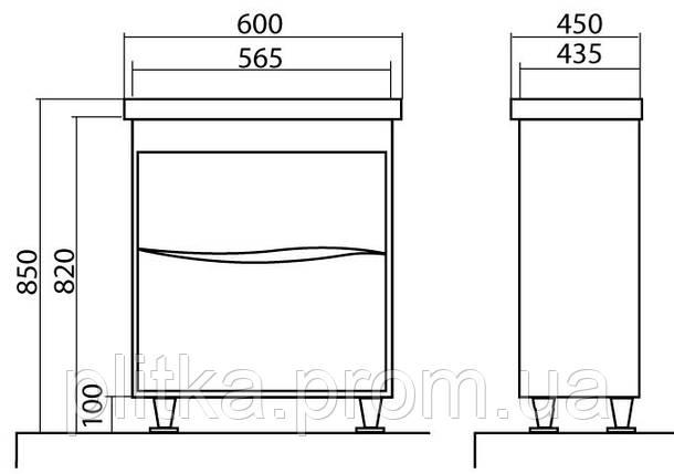Тумба Aqua Rodos напольная Альфа 60 см с умывальником, фото 2