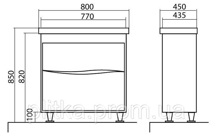 Тумба Aqua Rodos напольная Альфа 80 см с умывальником, фото 2