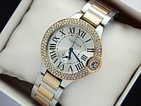 Женские часы Cartier комбинированные, с синими стрелками, римские цифры, два ряда страз