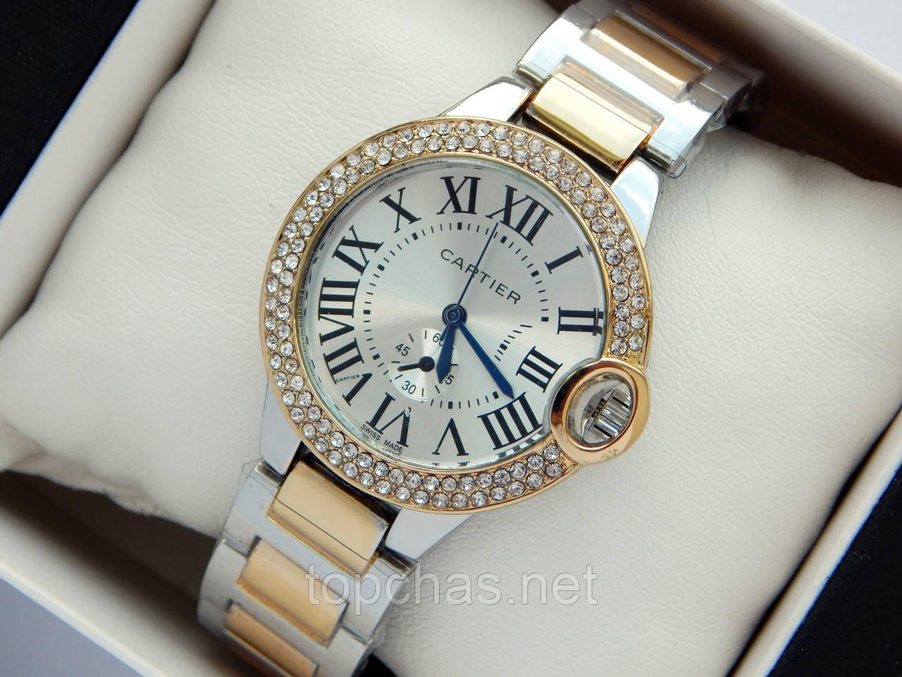 07b7ece2 Женские часы Cartier комбинированные, с синими стрелками, римские цифры,  два ряда страз