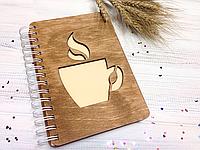 Блокнот с деревянной обложкой (Кофе) , фото 1