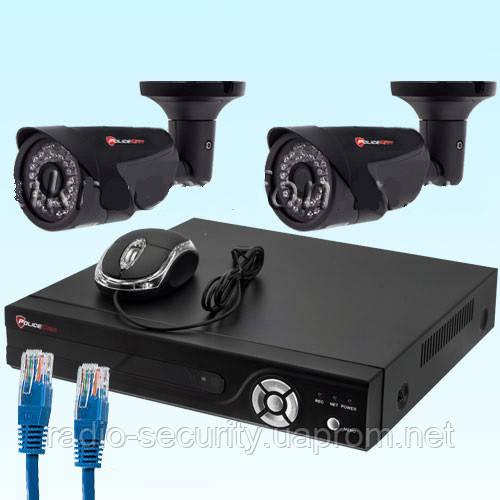 Комплект для уличного IP видеонаблюдения NVR-KIT2104 - 2 outdoor с двумя ip видеокамерами