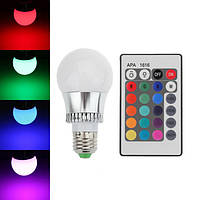 RGB цветная LED лампа с пультом на цоколь E27 повышенной мощности