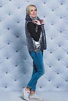 Модная жилетка на силиконе   темно-серая. Размеры до 58