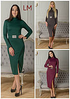 Платье Ева S,M,L,XL батал большой размер серое зеленое слива синее весеннее осеннее на работу