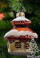 Стеклянная елочная игрушка Избушка с соломенной крышей 0035