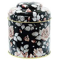 Кухонная банка для круп Цветочное ассорти Черная Роза, 11х9см, 200г ( жестяная банка )