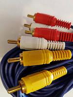 Кабель аудио - видео, 3 RCA – 3 RCA папа-папа AV кабель, тюльпаны, 15м