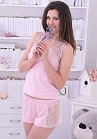 Пижама женская с кружевом вискозный комплект домашний майка и шорты