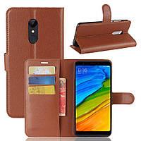 """Чехол для Xiaomi Redmi 5 Plus 5.99"""" книжка кожа PU коричневый"""