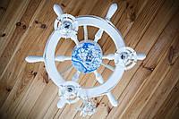 Люстра белая на 3 лампочки в морском стиле с картой мира