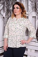 Блуза большого размера Виктория цветок, (3 цвета), шифоновая блуза,блуза в цветочек, фото 1