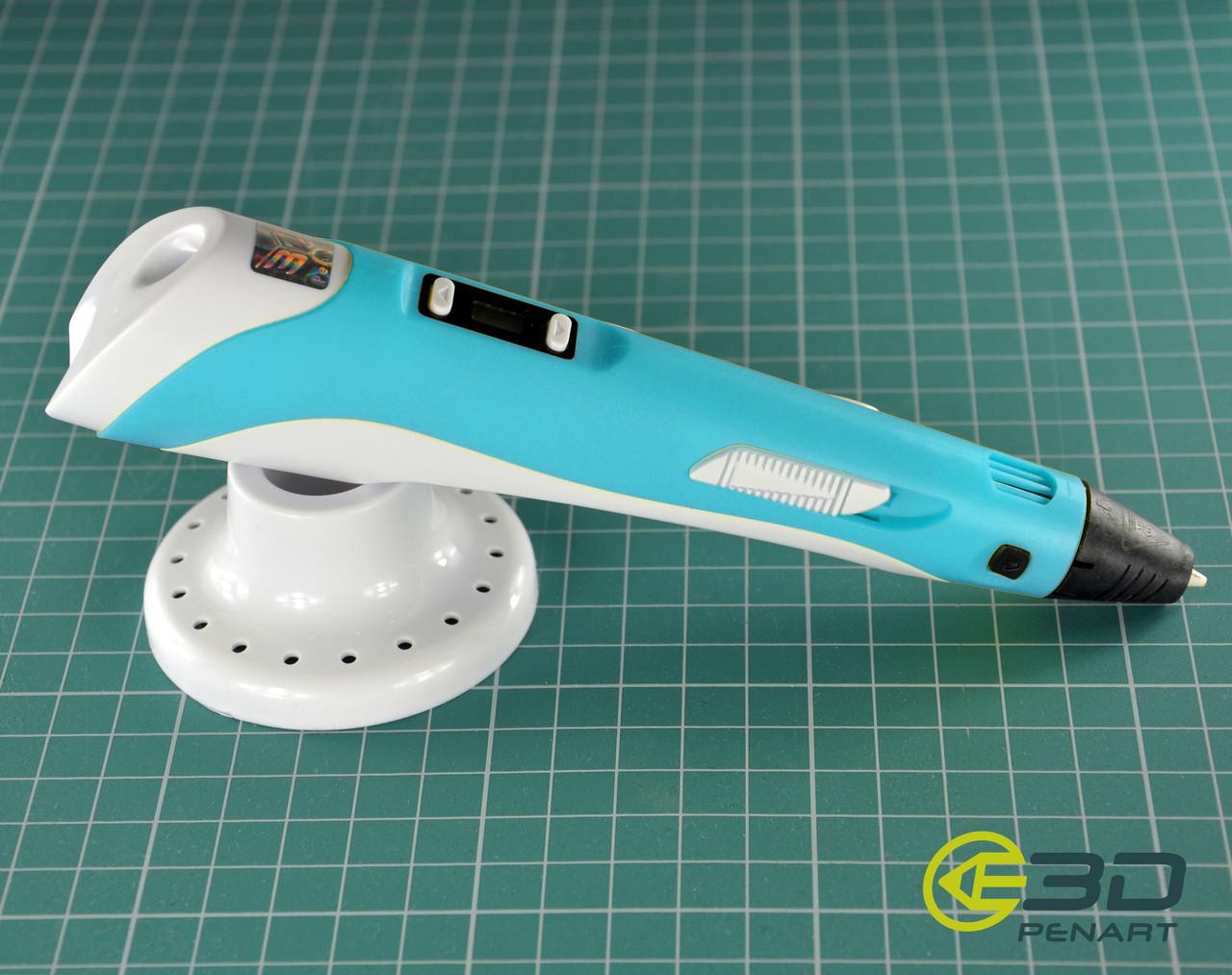 3д ручка 3DPenArt Model 2 LCD дисплей (3D pen), голубой + набор пластика 12 цветов в подарок