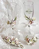 """Свадебный комплект""""Тюльпаны"""" (гребень+ браслет веточка+ 2 украшения на бокалы)"""