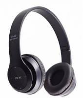 Беспроводные Блютуз наушники P47 с Радио и MP3 плеером FM Bluetooth Black