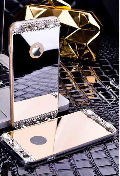 Чехол для Айфона 7 зеркальный золотой со стразами